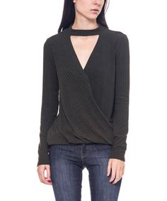 Love this Olive Ribbed Cutout Top on #zulily! #zulilyfinds