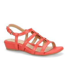 Love this Coral Sabira Leather Wedge Sandal by Softspots on #zulily! #zulilyfinds