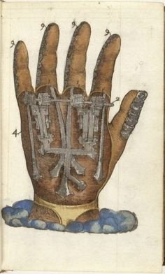 Illustration of mechanical hand, 1564