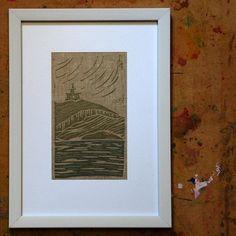 Original linocut print on fabric Linocut Prints, Printing On Fabric, Hand Carved, I Shop, Handmade Items, Carving, Etsy Shop, The Originals, Frame
