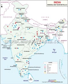 Map showing the location of non-metallic minerals found in the different states of India. India World Map, India Map, Geography Map, Teaching Geography, Gernal Knowledge, General Knowledge Facts, Ias Study Material, India Information, States Of India