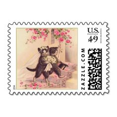 Vintage Cats Bride and Groom The Wedding Postage Stamp