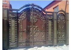 Best And Popular Front Door Front Gate Design, Main Gate Design, Door Gate Design, Front Door Paint Colors, Painted Front Doors, Metal Gates, Wrought Iron Doors, Front Gates, Entry Gates
