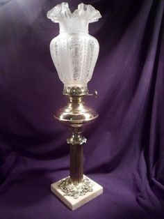 Antique Oil Lamp Brass Working Etched Glass Shade Circa 1860 1870 Large | eBay