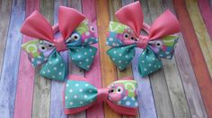 Set Hair Bow Boutique with Owl Hair Set Bow от JuliaBabyShop