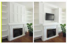 Hidden storage ideas // flat screen TV camouflage // living room decor & organizing // creative artwork // fireplace & bookshelf styling