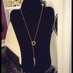 Necklace Beautiful lariat style gold feather necklace! Jewelry Necklaces