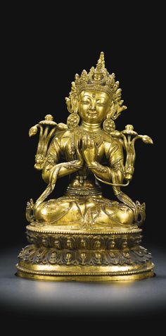 A gilt-bronze figure of a bodhisattva, Ming dynasty, 16th-17th century