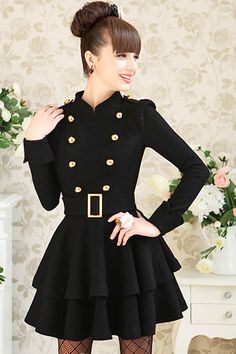 Double-breasted Black Ball Gown Mini Dress