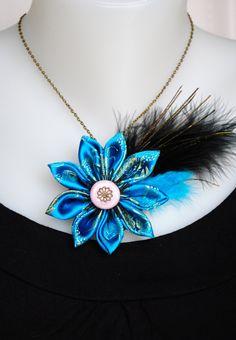 Ceramic collar and textile osmosis kanzashi flower blue
