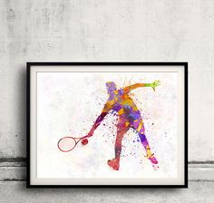 tennis player in silhouette 02  SKU 0577 by Paulrommer on Etsy