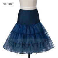 Women's Short Navy Blue/Red Petticoat Organza Crinoline Skirts Vintage Wedding Bridal Petticoat for Wedding Dresses Underskirt