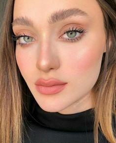 Pink Eye Makeup, Neutral Makeup, Makeup For Green Eyes, Natural Makeup Looks, Skin Makeup, Eyelashes Makeup, Cheek Makeup, Flawless Makeup, Glam Makeup