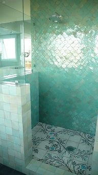 Take a look at the unique tile in this washroom!