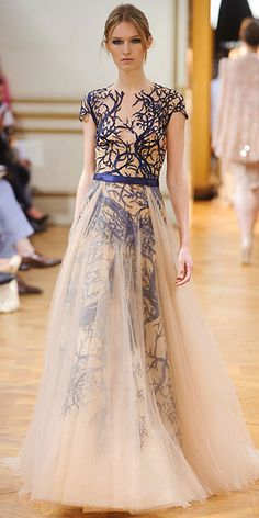 Fall 2013 Couture Fashion Week: Zuhair Murad; I am about to go buy some nude tool to make a skirt to wear over others to get this look.