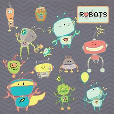 Buy 2 Get One Free!!! Instant Download -Robots - digital clipart- printable artwork