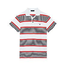 5bb04eafeba Buy Gant Rolled Sleeve Striped Polo Shirt, White/Black/Red Online at  johnlewis