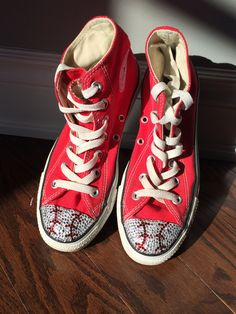 Girls High Top Baseball Converse Bling.  Converse Shoes with Baseball Bling by TrickedKicks on Etsy