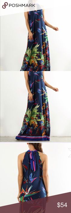 """👗 Coming Soon! 👗 Tropical print maxi dress Navy Floral Keyhole Maxi Dress 👗 Halter style Keyhole cutout at neckline 👗 Vibrant tropical print 👗 A knit polyester/spandex blend 👗 Made in USA 👗 Hand wash 👗 Medium measurements: Hip: 38-39"""" Bust: 35.5-36.5"""" Waist: 27-28"""" Fits size 8-10 👗 Dresses Maxi"""