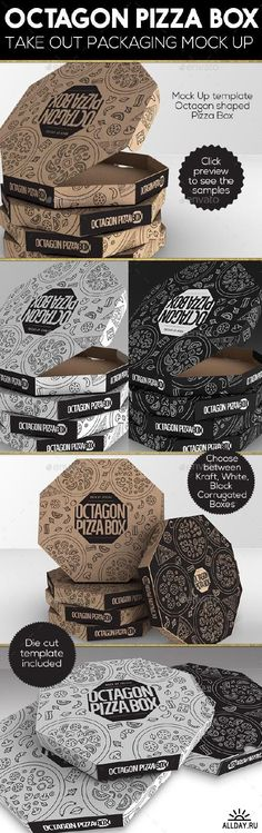Packaging Mock up Octagon Pizza Box - 16687742