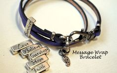 Heart Lock and Key Wrap Leather Bracelet in by BandanaGirlJewelry