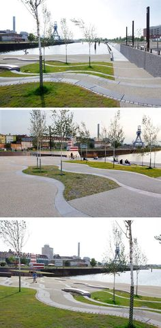 Offenbacher Hafen Turns from Polluted Industrial Port to Technological Riverfront Landscape Plaza, Urban Landscape, Landscape Design, Urban Garden Design, Urban Design, Urban Architecture, Architecture Details, Pavement Design, Urban Ideas