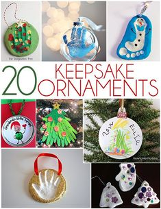 Always love hand, footprint & fingerprint kiddo art ideas! LOL! Our 14 yr old son's foot is now bigger than his father's foot. -- 20 Keepsake Ornaments Your Kids Can Make