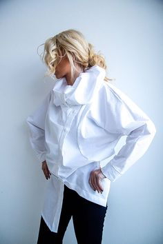 cc61abd33e7 Extravagant Oversized ShirtCouture TopDesigners by ConceptStyle High Collar  Blouse, Formal Blouses, White Shirts Women