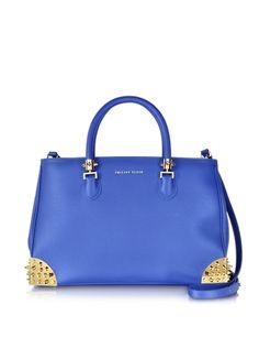 Philipp Plein  Casssiopeia Blue Leather Handbag