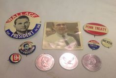 Vintage Political PHOTO BUTTONS PINS McGovern Goldwater Stevenson Wallace Lot