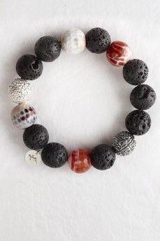 5 ELEMENTS by MyKi bracelet, silver, agate, lava Браслет 5 ELEMENTS by MyKi, серебро, агат, лава