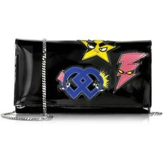 DSquared2 Handbags Signature Black Patent Leather Clutch w/Chain ($735) ❤ liked on Polyvore featuring bags, handbags, clutches, black, handbag purse, man bag, chain handbags, man shoulder bag and handbags clutches