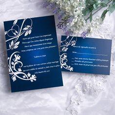 Nuance Bleue et Motifs Blancs Faire Part Mariage Poche Style JM503 à partir de 1.3€ faire part de mariage pas cher, sur mesure - joyeuxmariage.fr