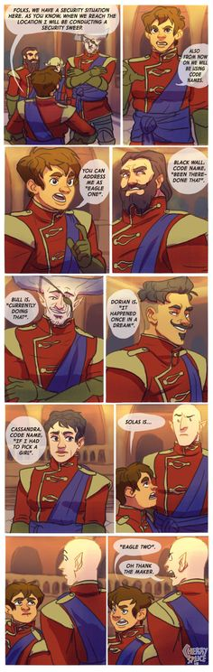 DA I: Code Names by cherrysplice on DeviantArt      This is funny, what the hell, it's great!  Cass looks so disturbed