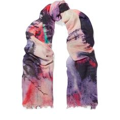 Lily and Lionel Kate printed modal and silk-blend scarf ($81) ❤ liked on Polyvore featuring accessories, scarves, purple, multi colored scarves, lily and lionel, purple shawl, purple scarves and colorful scarves
