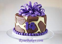 Giraffe Print Cake with Purple for a Teenager