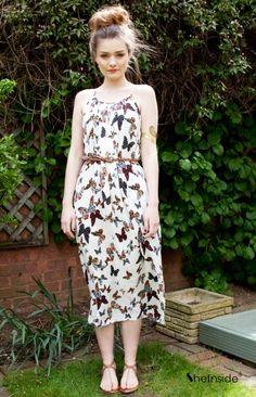 Spaghetti Strap Butterfly Print Dress -so pretty!