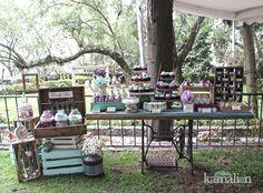 Pé da maquina virado pra frente - www.kamalion.com.mx - Mesa de Dulces / Candy Bar / Postres / Vintage / Wedding / Boda / Mint & Purple / Menta & morado