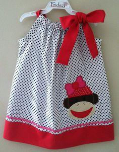 Sock monkey girl pillow case dress