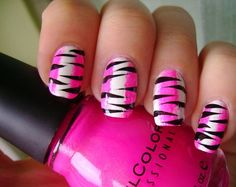 Zebra nail designs and random animal prints are cool nail designs for young girls and even older women. Some inspirational zebra nail designs. Pink Zebra Nails, Zebra Nail Art, Pink Nail Art, Cool Nail Art, White Nails, Zebra Nail Designs, Best Nail Art Designs, Acrylic Nail Designs, Love Nails
