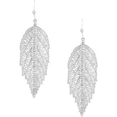 White Leaf Crystal Vein Earring (76.505 COP) ❤ liked on Polyvore featuring jewelry, earrings, metallic, crystal stone jewelry, metallic jewelry, earring jewelry, white leaf and fish hook earrings