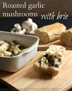 Roasted garlic mushrooms with brie recipe