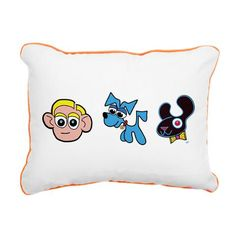 CAPPY, MIGGY MUTT and FLOCO! Featured on this soft and durable throw pillow with colored piping around the edges. Pillow Design, Color Combinations, Cartoons, Snoopy, Throw Pillows, Canvas, Color Combos, Tela, Cartoon