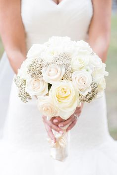 Ivory Rose and Baby's Breath Bridal Bouquet