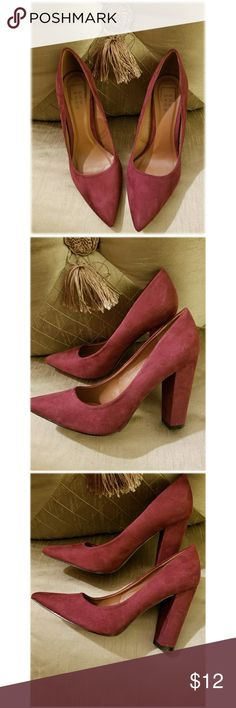 Shu Shop Burgandy Pointed Toe Heels Size 9 Shu Shop burgandy pointed toe heels. Gently worn, preloved condition. Small blemishes on heel from storing, shown in pic #3. Shoes Heels