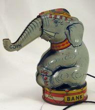 Chein Mechanical Tin Toy Coin Bank Elephant 1930 S