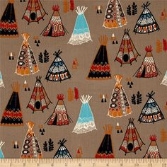 Birch Organic Wildland Teepees Shroom from @fabricdotcom Designed by Miriam Bos for Birch Organic Fabrics, this GOTS certified organic cotton print fabric is perfect for quilting, apparel, and home decor accents. Colors include tan, orange, red, navy, aqua, white and red.