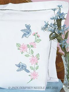 Birds Lace Edge Pillowcases #embroidery #embroiderybyhand #JDNA #birds