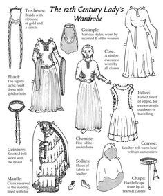 From the well-respected Stefan's Florilegium, this compendium of 12th Century women's clothing wardrobe