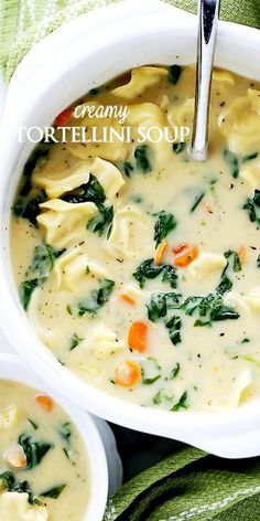 Creamy Tortellini Soup is a quick, easy, and deliciously creamy soup packed with cheesy tortellini and fresh spinach. #vegetarian #meatless #pasta #soups